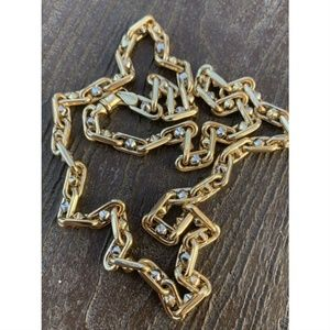 Harlembling White & Yellow Gold Bullet Rolo Chain